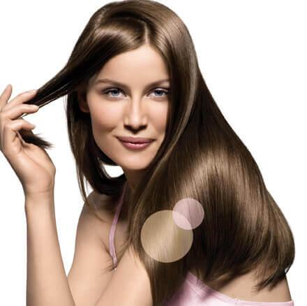 Kvinna med lent och skinande hår