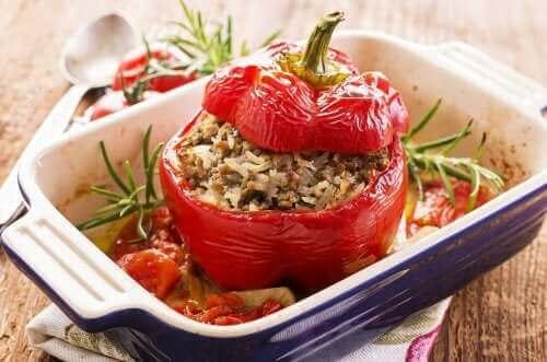 Recept på utsökt paprika fylld med quinoa