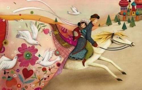Man och kvinna på häst.