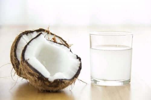 Glas med kokosvatten
