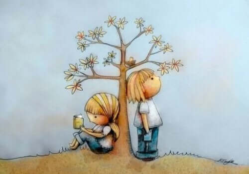 Barn under träd