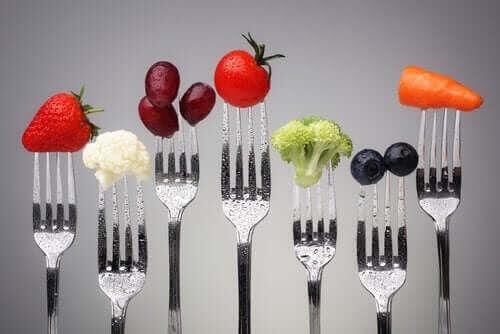 nyttig mat på gafflar