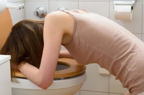 diabetes och bulimi: kvinna kräks