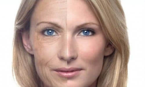 kvinnoansikte halva ungt och halva åldrat