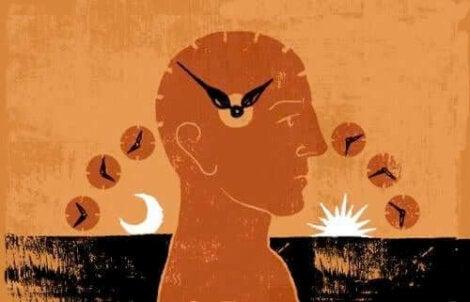 Illustration av person med klocka i huvudet samt solupp- och nedgång.
