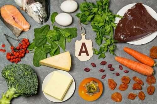 Livsmedel som är rika på A-vitamin.