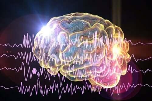 Illustration av elektriska signaler på väg till hjärnan.