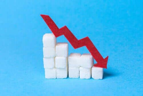 Sockerbitar visar en nedåtgående trend.