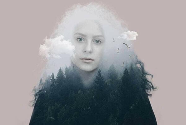 Existentiell depression: kvinna med tunga moln