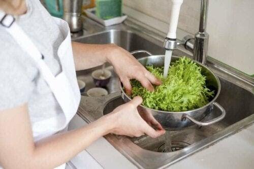 Korskontaminering från skadliga virus och bakterier: kvinna sköljer sallad