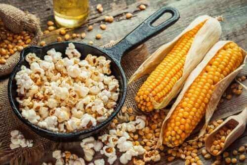 fet av popcorn: majs och popcorn
