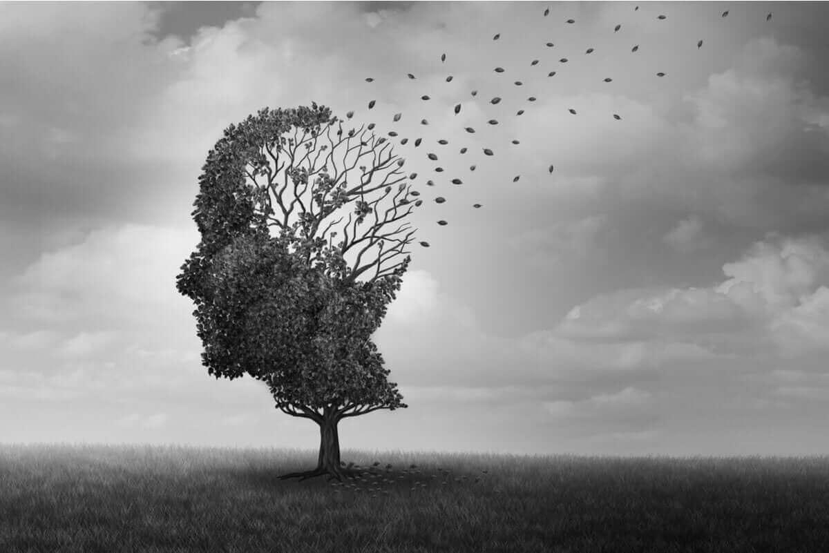 typerna av minnesförlust: träd i form av huvud där löven blåser bort