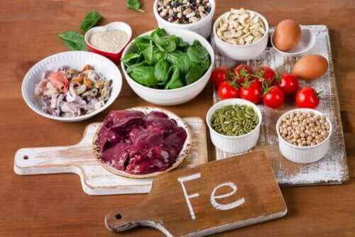 Livsmedel med höga nivåer av järn.