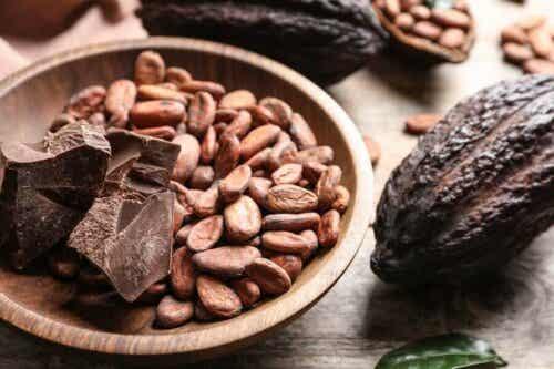 choklad och cacaobönor