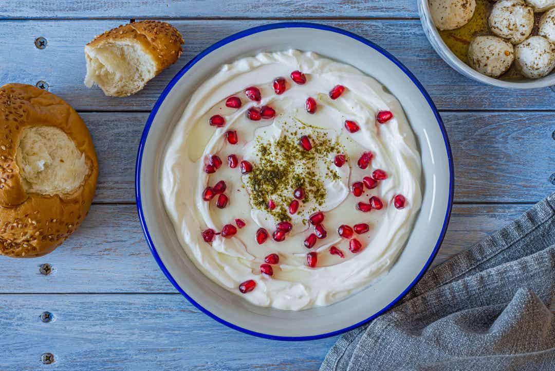 Labneh eller yoghurtost med granatäpple